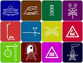 set of 12 railway icons