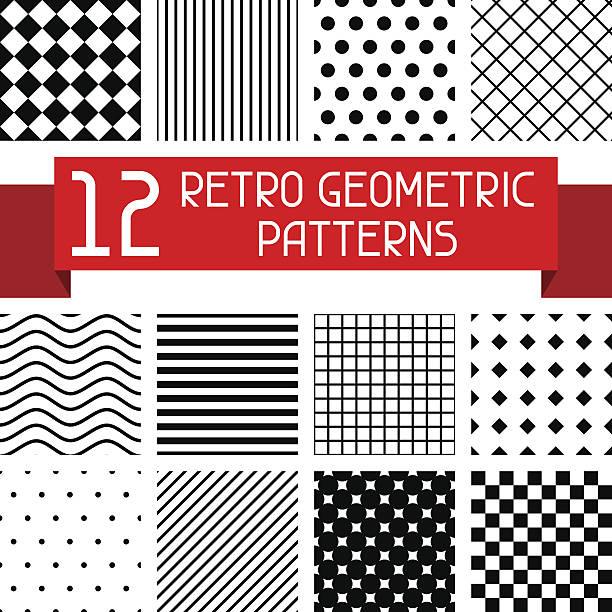 Set of 12 retro geometric patterns. Set of 12 retro geometric patterns. fabric swatch stock illustrations
