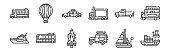 set of 12 thin outline icons such as cargo ship, car, electric bus, pick up truck, police car, hot air balloon for web, mobile