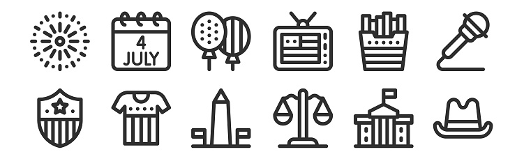 set of 12 thin outline icons such as cowboy hat, justice, t shirt, french fries, balloons, th of july for web, mobile