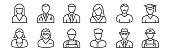 set of 12 thin outline icons such as miner, baker, teacher, barber, businessman, doctor for web, mobile