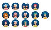 Cartoon style avatars of girls. Aries, Taurus, Gemini, Cancer, Leo, Virgo, Libra, Scorpio, Sagittarius, Capricorn, Aquarius, Pisces, Ophiuchus.