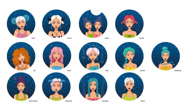 illustrations, cliparts, dessins animés et icônes de l'ensemble des 13 signes du zodiaque, symboles. - pisces zodiac