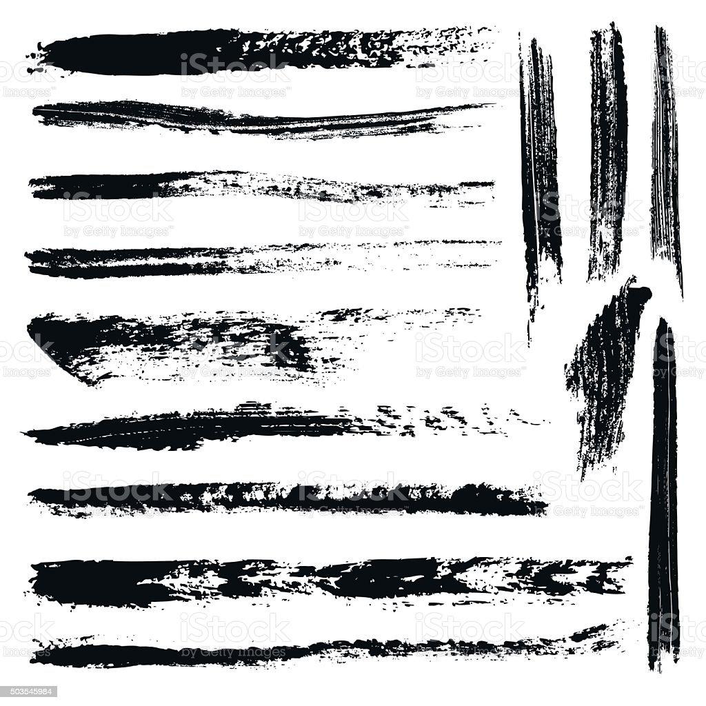 Set of 14 artistic mascara brush strokes vector art illustration