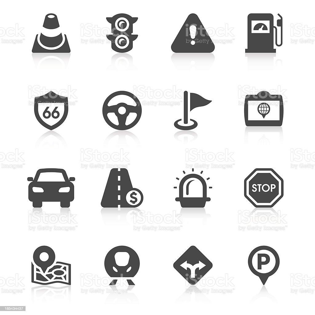 Set of 14 black on white traffic icons royalty-free stock vector art