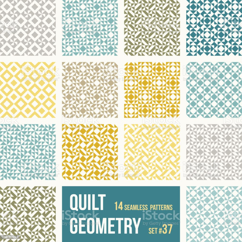 Set of 14 tiles with geometric patterns in patchwork style vector art illustration