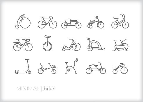 Set of 15 bicycle and bike line art icons