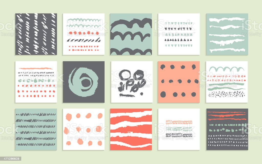 Set of 15 creative cards. vector art illustration