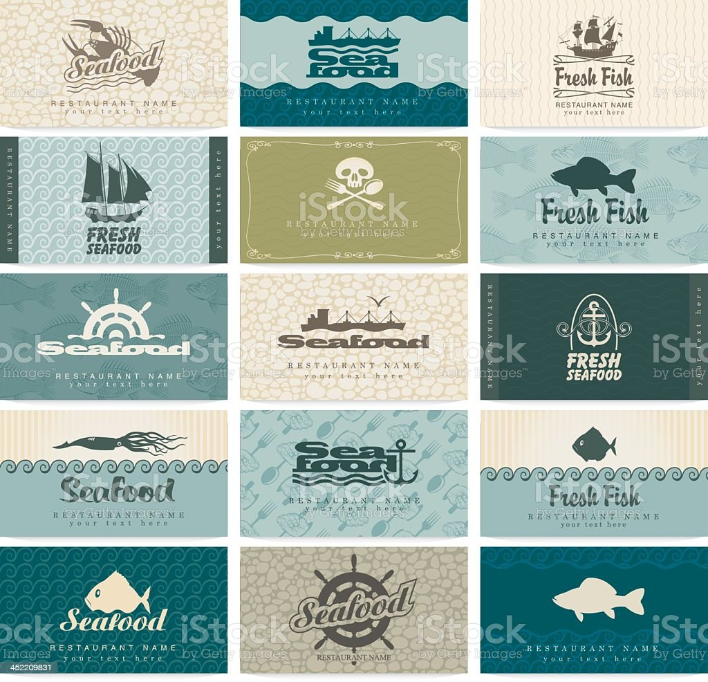 Set of 15 different seafood themed business card templates vector art illustration