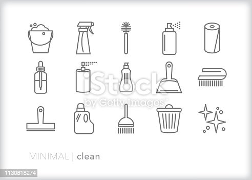 Set of 15 gray cleaning line icons of cleaning tools and chemicals including brushes, soapy water, cleaning solution, spray bottle, paper towels, dust pan, essential oil, broom and other items