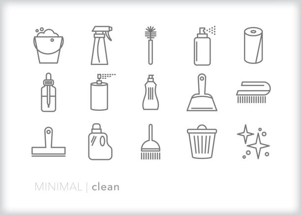 Set of 15 house cleaning line icons of tools to scrub, wash and tidy up the kitchen, living room, bedroom or whole house Set of 15 gray cleaning line icons of cleaning tools and chemicals including brushes, soapy water, cleaning solution, spray bottle, paper towels, dust pan, essential oil, broom and other items aerosol can stock illustrations