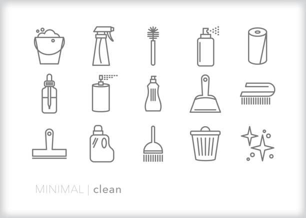 illustrations, cliparts, dessins animés et icônes de ensemble de 15 icônes de ligne de nettoyage de maison d'outils pour frotter, laver et ranger la cuisine, le salon, la chambre ou toute la maison - raclette