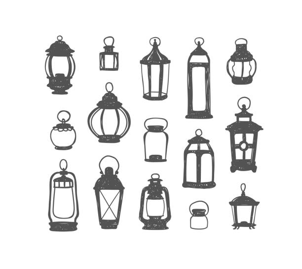 Set of 15 retro lanterns. Doodle illustration Set of 15 vector retro lanterns. Black on white doodle illustration lantern stock illustrations