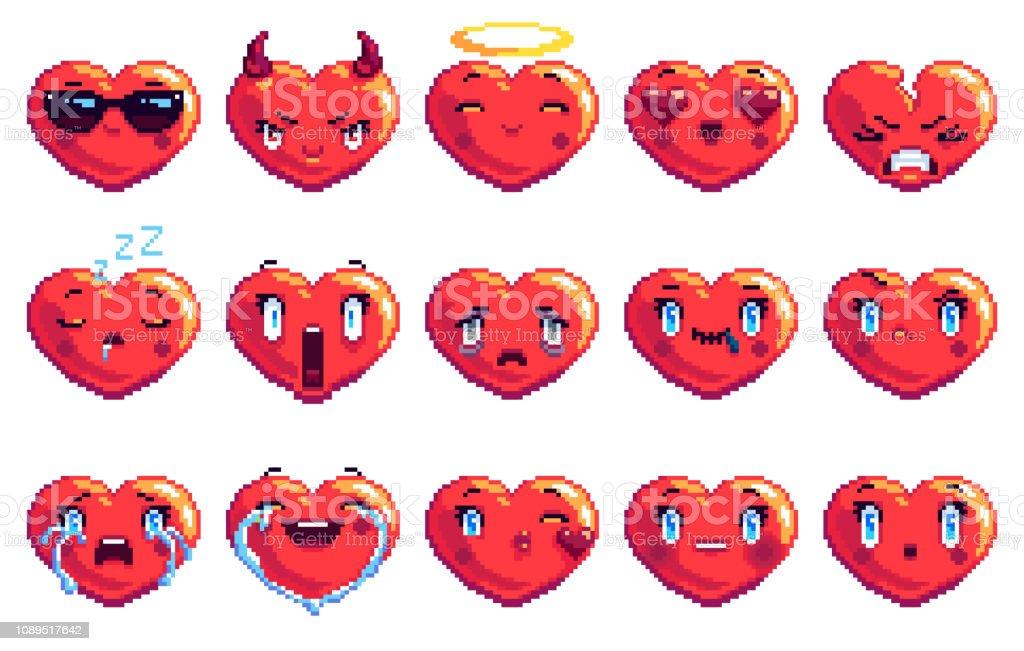 Ensemble De 15 Coeur Special En Forme De Pixel Art Emoji Dans La Couleur Rouge Vecteurs Libres De Droits Et Plus D Images Vectorielles De Amour Istock