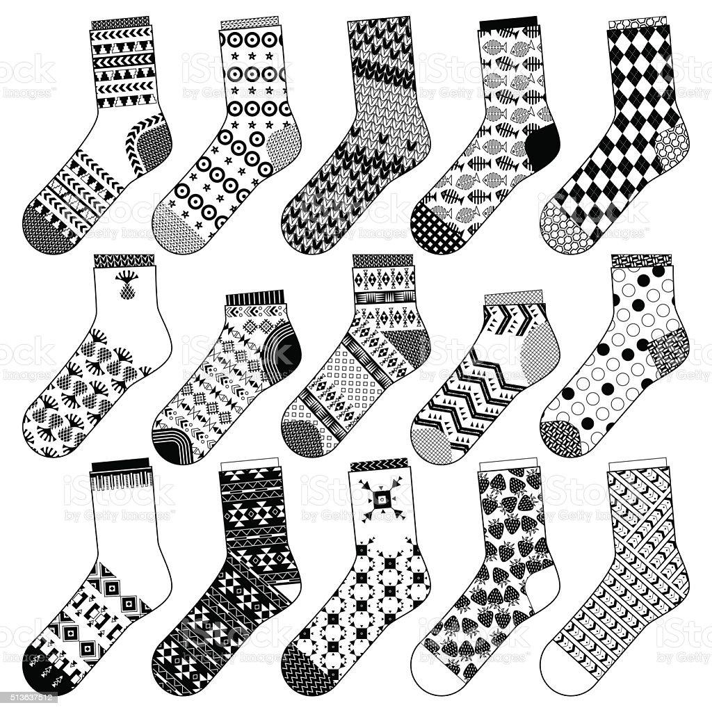 Ilustración de Conjunto De 15 Diferentes Calcetines Blanco Y Negro y ...