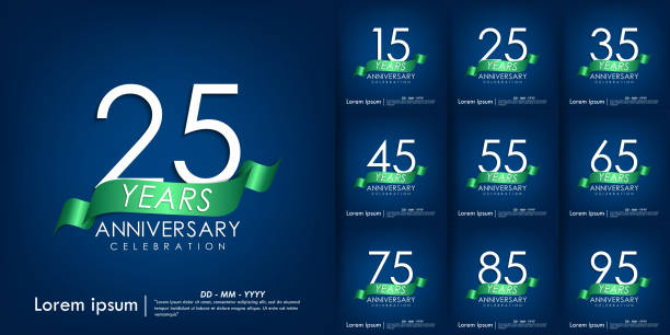 Set of 15-95 Anniversary celebration emblem. anniversary elegance white logo with green ribbon on blue background, vector illustration template for web, flyers, greeting card & invitation card Set of 15-95 Anniversary celebration emblem. anniversary elegance white logo with green ribbon on blue background, vector illustration template for web, flyers, greeting card & invitation card greeting card with the 45th anniversary stock illustrations