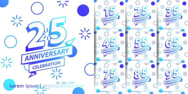 Set of 15-95 Anniversary celebration emblem. blue gradient anniversary logo with ribbon. vector illustration template design for web, flyers, greeting card & invitation Set of 15-95 Anniversary celebration emblem. blue gradient anniversary logo with ribbon. vector illustration template design for web, flyers, greeting card & invitation greeting card with the 45th anniversary stock illustrations
