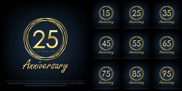 Set of 15-95 Anniversary celebration emblem. elegance golden anniversary isolated with rings on black background, vector illustration template design for web, flyers, greeting card & invitation card Set of 15-95 Anniversary celebration emblem. elegance golden anniversary isolated with rings on black background, vector illustration template design for web, flyers, greeting card & invitation card greeting card with the 45th anniversary stock illustrations