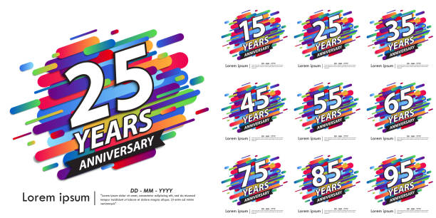 Set of 15-95 Anniversary celebration emblem. white anniversary logo with colorful rounded lines. vector illustration template design for web, flyers, poster, greeting & invitation card Set of 15-95 Anniversary celebration emblem. white anniversary logo with colorful rounded lines. vector illustration template design for web, flyers, poster, greeting & invitation card greeting card with the 45th anniversary stock illustrations