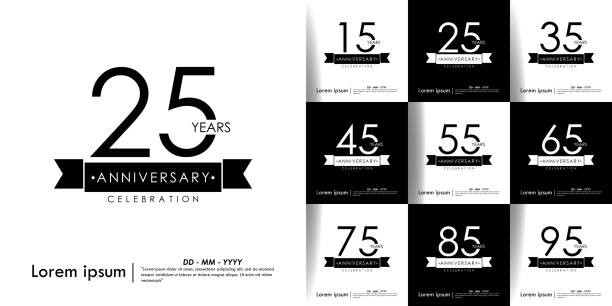 Set of 15-95 Anniversary celebration isolated with ribbon on black & white background. vector illustration template design for web, flyers, leaflet, poster, invitation card or greeting card Set of 15-95 Anniversary celebration isolated with ribbon on black & white background. vector illustration template design for web, flyers, leaflet, poster, invitation card or greeting card greeting card with the 45th anniversary stock illustrations