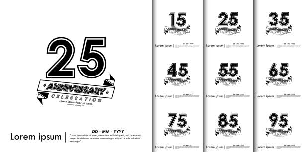 Set of 15-95th Anniversary celebration emblem. anniversary isolated with black and white background. vector illustration template design for for web, flyers, invitation card or greeting card Set of 15-95th Anniversary celebration emblem. anniversary isolated with black and white background. vector illustration template design for for web, flyers, invitation card or greeting card greeting card with the 45th anniversary stock illustrations