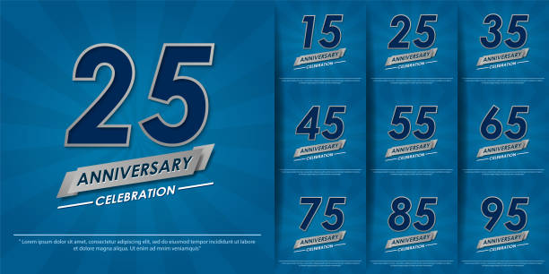 set of 15-95th elegance silver anniversary celebration emblem with ribbon on blue background. anniversary logo design for web, poster, booklet, leaflet, magazine, greeting card and invitation card set of 15-95th elegance silver anniversary celebration emblem with ribbon on blue background. anniversary logo design for web, poster, booklet, leaflet, magazine, greeting card and invitation card greeting card with the 45th anniversary stock illustrations