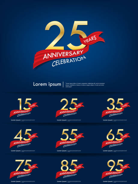 set of 15th-95th anniversary celebration emblem. anniversary elegance golden logo with red ribbon on blue background, template design for web, poster, leaflet, flyer, greeting card and invitation card set of 15th-95th anniversary celebration emblem. anniversary elegance golden logo with red ribbon on blue background, template design for web, poster, leaflet, flyer, greeting card and invitation card greeting card with the 45th anniversary stock illustrations