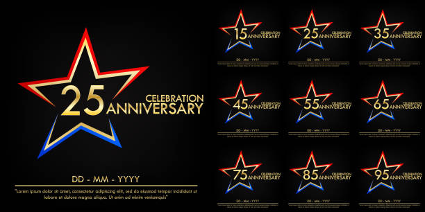 set of 15th-95th anniversary celebration emblem. anniversary elegance golden logo with red and blue star shape. template design for web, poster, booklet, leaflet, flyer, greeting and invitation card set of 15th-95th anniversary celebration emblem. anniversary elegance golden logo with red and blue star shape. template design for web, poster, booklet, leaflet, flyer, greeting and invitation card greeting card with the 45th anniversary stock illustrations