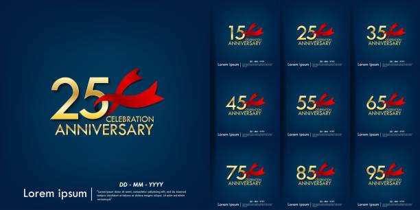 Set of 15th-95th anniversary celebration emblem. anniversary elegance golden with red ribbon on blue background, template design for web, poster, flyers, greeting card an invitation card Set of 15th-95th anniversary celebration emblem. anniversary elegance golden with red ribbon on blue background, template design for web, poster, flyers, greeting card an invitation card greeting card with the 45th anniversary stock illustrations