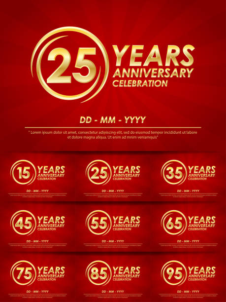 set of 15th-95th anniversary celebration emblem. anniversary logo with ring and elegance golden on red background. template design for web, booklet, leaflet, flyer, greeting card and invitation card set of 15th-95th anniversary celebration emblem. anniversary logo with ring and elegance golden on red background. template design for web, booklet, leaflet, flyer, greeting card and invitation card greeting card with the 45th anniversary stock illustrations