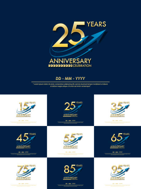 set of 15th-95th elegance golden anniversary celebration emblem. anniversary elegance golden logo with blue arrow ribbons design for web, game, poster, booklet, leaflet, flyer, magazine, greeting card set of 15th-95th elegance golden anniversary celebration emblem. anniversary elegance golden logo with blue arrow ribbons design for web, game, poster, booklet, leaflet, flyer, magazine, greeting card greeting card with the 45th anniversary stock illustrations