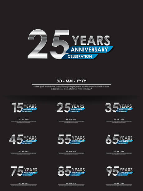 set of 15th-95th years anniversary celebration emblem. anniversary elegance silver logo isolated with blue ribbon, vector illustration template design for celebration greeting card and invitation card set of 15th-95th years anniversary celebration emblem. anniversary elegance silver logo isolated with blue ribbon, vector illustration template design for celebration greeting card and invitation card greeting card with the 45th anniversary stock illustrations