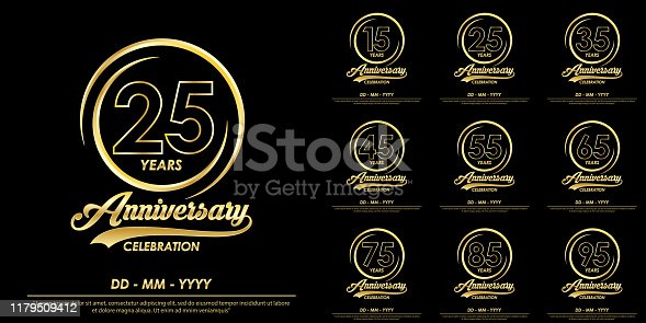 set of 15th-95th years anniversary celebration emblem. elegance golden anniversary logo with ring on black background. vector illustration template design for celebration greeting card and invitation