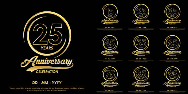 set of 15th-95th years anniversary celebration emblem. elegance golden anniversary logo with ring on black background. vector illustration template design for celebration greeting card and invitation set of 15th-95th years anniversary celebration emblem. elegance golden anniversary logo with ring on black background. vector illustration template design for celebration greeting card and invitation greeting card with the 45th anniversary stock illustrations