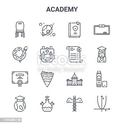 set of 16 academy concept vector line icons. 64x64 thin stroke icons such as cosmology, art, student, academy, chemistry, algebra, medicine, exam, whiteboard