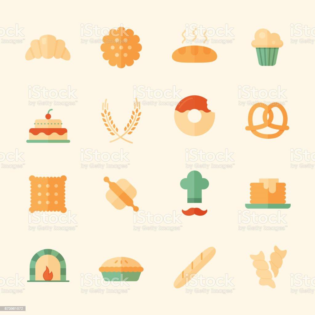 Set of 16 bakery flat icons. vector art illustration