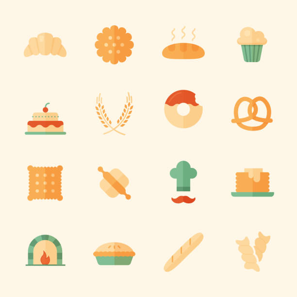 Set of 16 bakery flat icons. Set of 16 bakery flat icons. High quality pictograms of food. Modern flat style icons collection. Bread, croissant, baguette, pie, cake, muffin, pretzel and others. cartoon of birthday cake outline stock illustrations