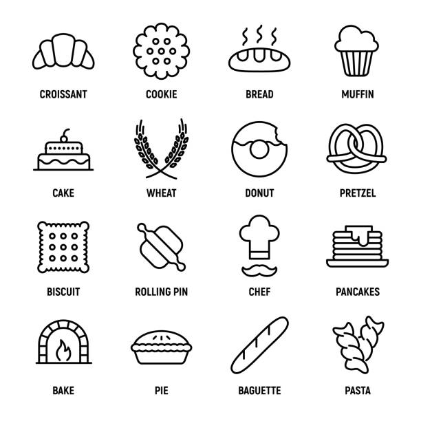 Set of 16 bakery thin line icons. Set of 16 bakery thin line icons. High quality pictograms of food. Modern flat style icons collection. Bread, croissant, baguette, pie, cake, muffin, pretzel and others. cartoon of birthday cake outline stock illustrations