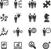 Set of 16 black and white business management icons
