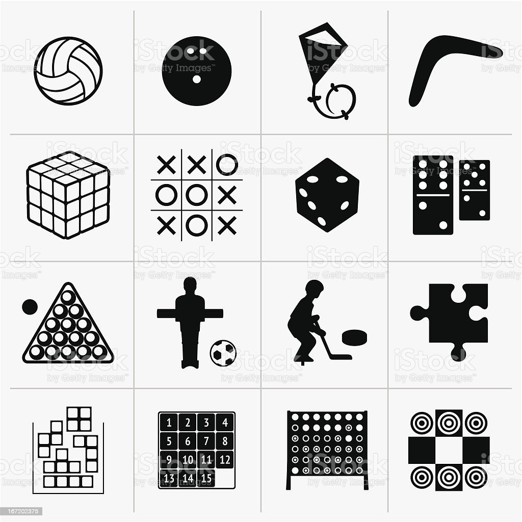 Set of 16 black and white game icons in checkerboard pattern vector art illustration