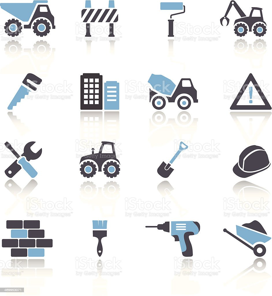 Set of 16 blue and white construction icons vector art illustration