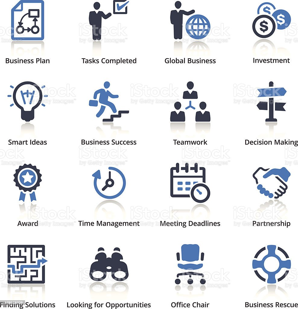 Set of 16 blue business icons vector art illustration