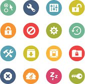 Set of 16 colorful circular icons