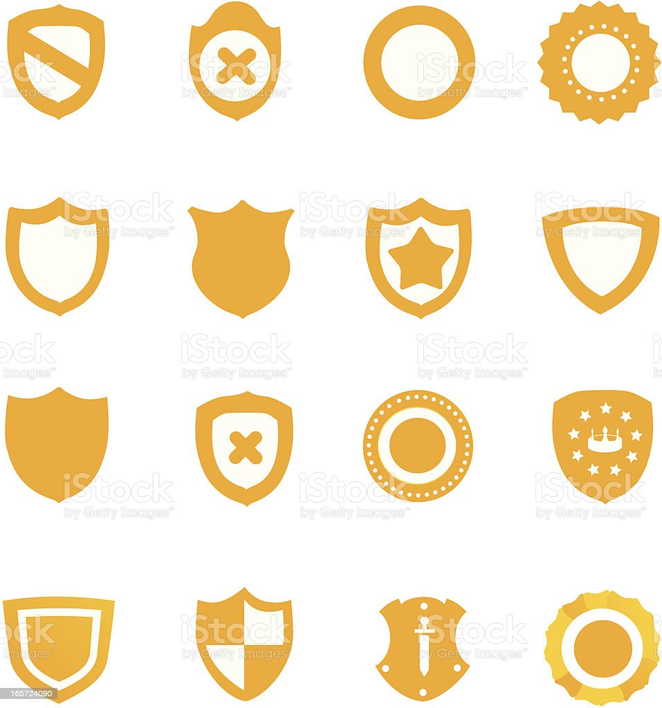 Set of 16 different yellow shield icons royalty-free stock vector art