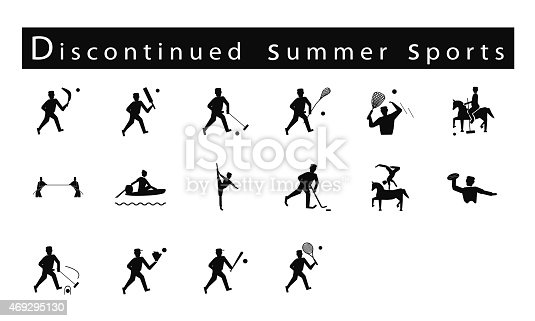 istock Set of 16 Discontinued Summer Sport Icons 469295130