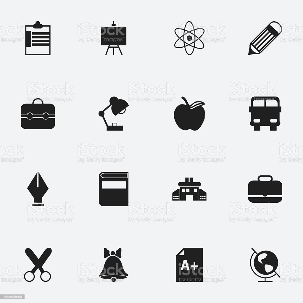 Set Of 16 Editable Education Icons. vector art illustration