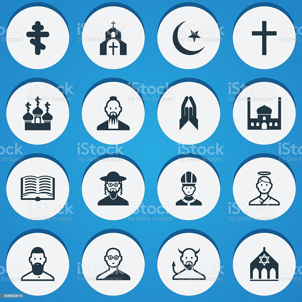 Set Of 16 Editable Religion Icons. vector art illustration