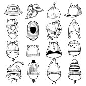 Set of 16 fashion kids caps and hats sketches: knitted hats, hats with a pompom, snap-back cap, beanies with laces, helmet hat, panama etc.
