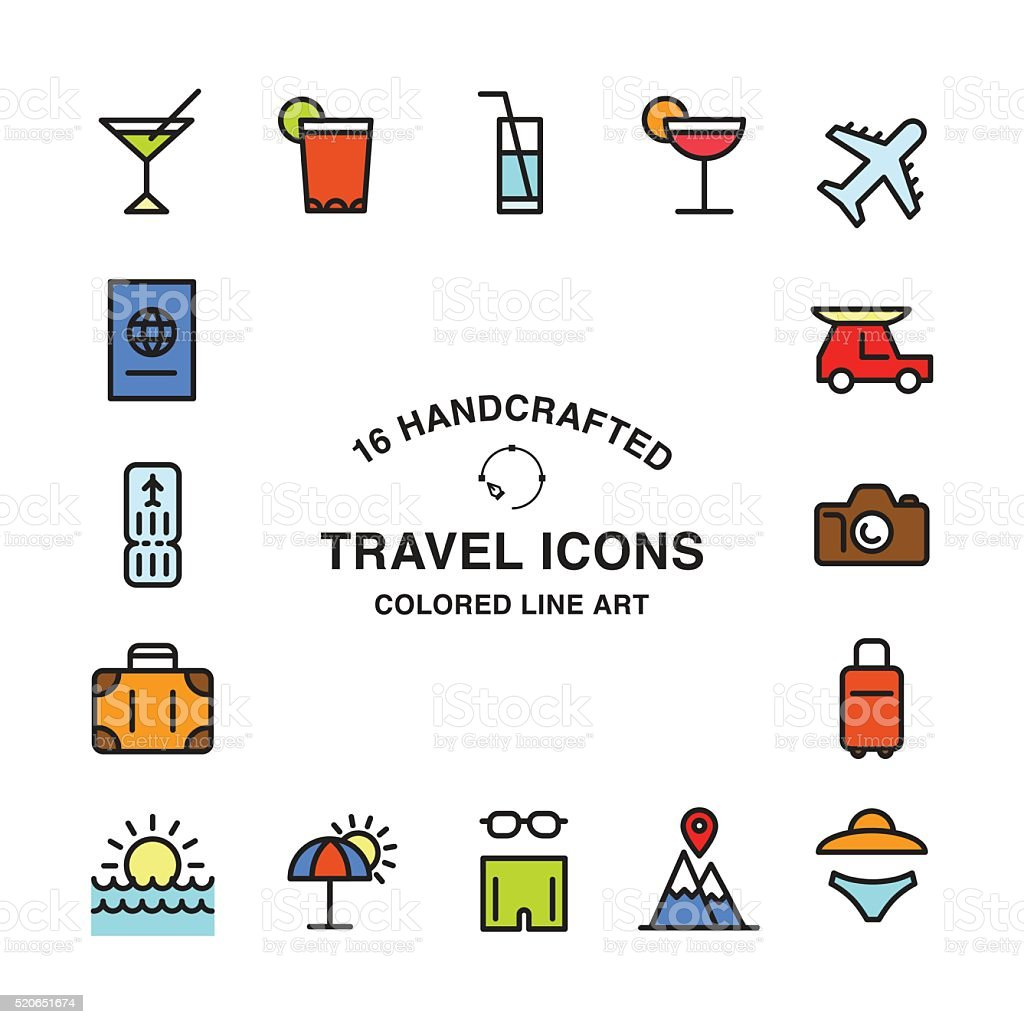 Set of 16 handcrafted travel icons vector art illustration