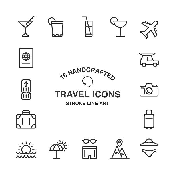 set of 16 handcrafted travel stroke icons - travel agent stock illustrations, clip art, cartoons, & icons